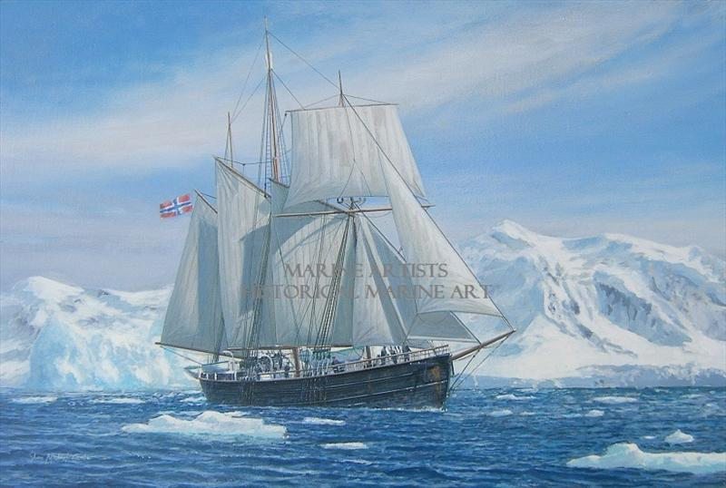 "<b>""<i>Fram</i> under sail in the Antarctic, 1912""</b>"