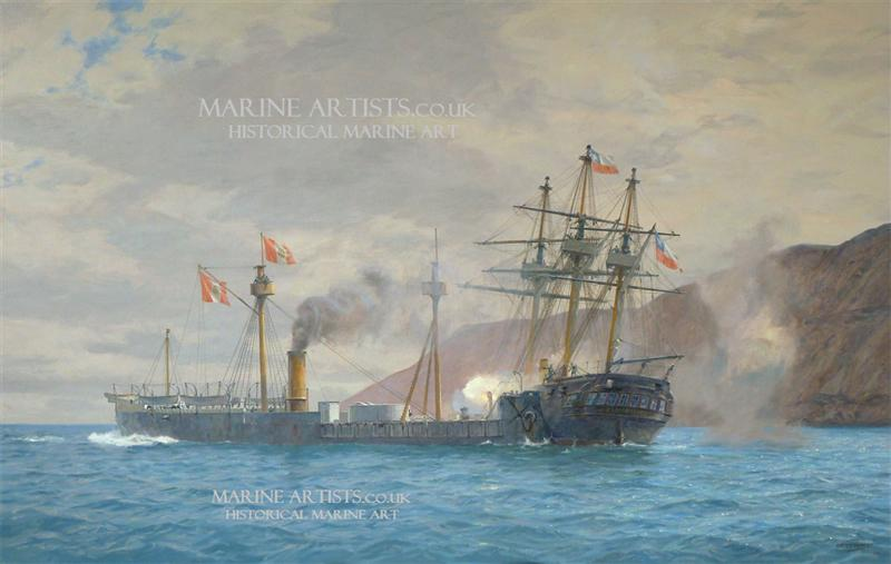 "<b>""<i>Huáscar </i> and <i>Esmeralda</i> at Iquique, the first ramming""</b>"